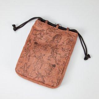 信玄袋 鳥獣戯画(柿渋布)