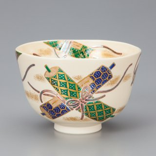 色絵物語巻物画 茶碗 相模竜泉作