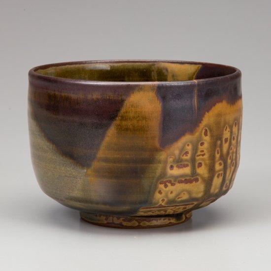 高取焼掛分茶碗 �取八山作(十三代)