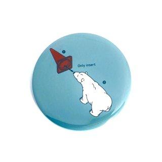 シロクマレトロ缶バッジ  白熊マニュアル