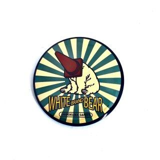 シロクマレトロ缶バッジ  白熊安全レトロ
