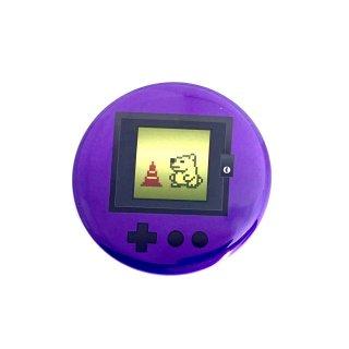 シロクマレトロ缶バッジ  ゲーム紫