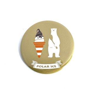 シロクマレトロ缶バッジ  白熊チョコレートアイス