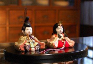 令華雛 桃(丸盆飾り)