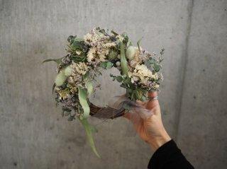 white×green wreath Φ20cm