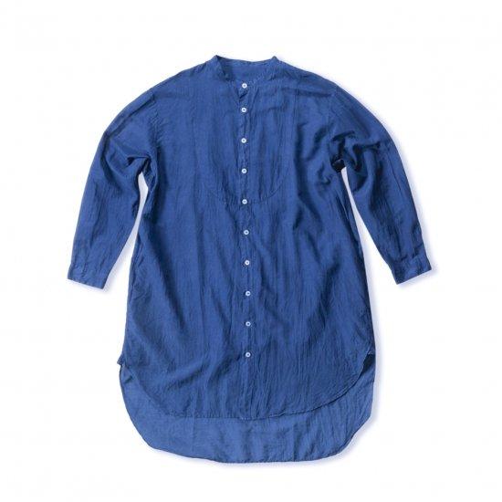 切替BIGシャツシルクコットン(NAVY / LIGHT GRAY / BLACK)