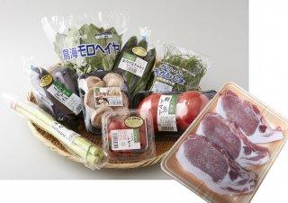 旬の庄内野菜5種&豚ロース厚切肉の詰合せ