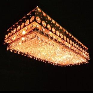 【送料無料】 ゴールドメッキ 豪華 長方形型 60cm×30cm シャンデリア