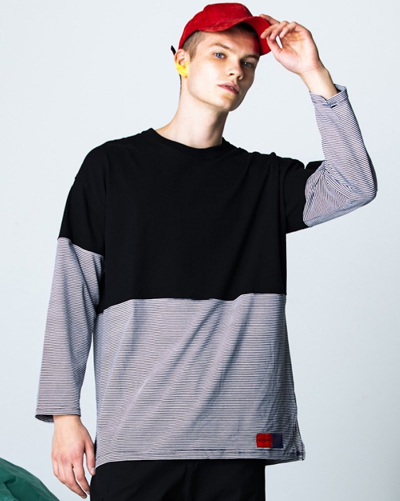 オーバーサイズ&ストリート『Re:one Online Store』「PARADOX」BORDER L/S TEE(BLACK)