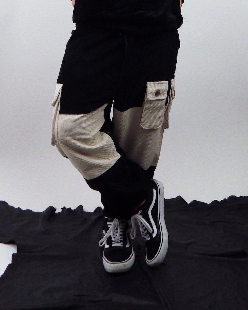 オーバーサイズ&ストリート『Re:one Online Store』BLACK loose  wide cargo pants