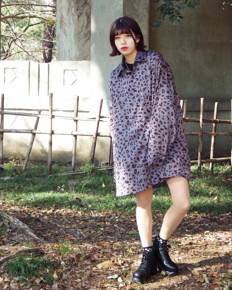 オーバーサイズ&ストリート『Re:one Online Store』Leopard shirt -GRAY-