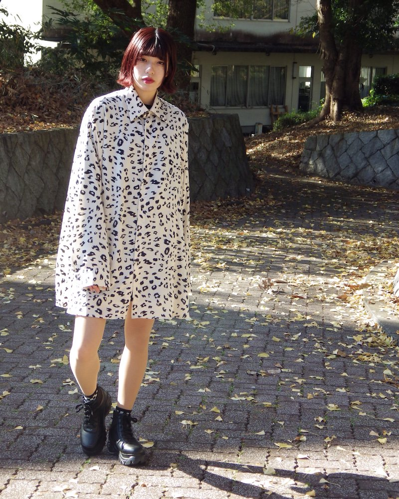 オーバーサイズ&ストリート『Re:one Online Store』Leopard shirt -WHITE-