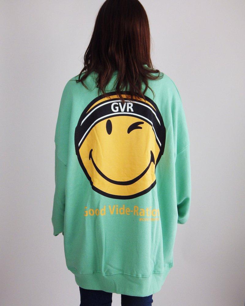 オーバーサイズ&ストリート『Re:one Online Store』SMILEY L/S SWEATSHIRT-GREEN-