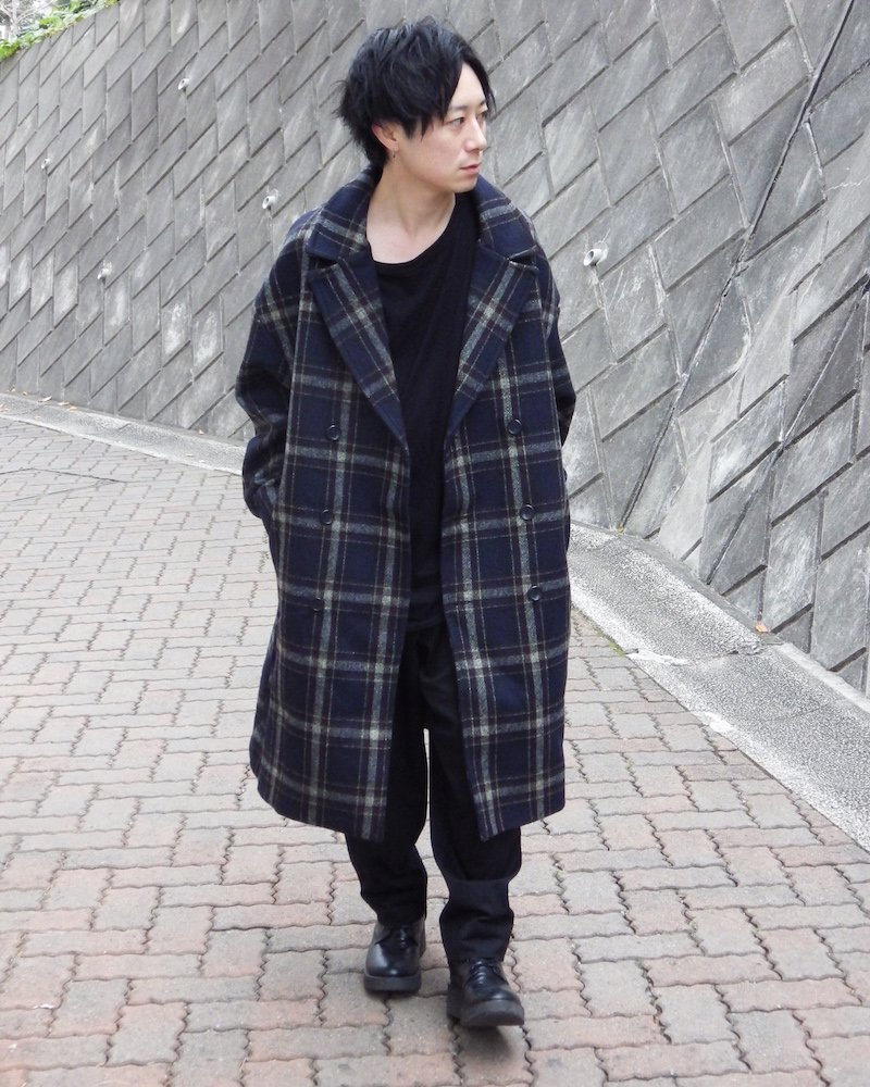 オーバーサイズ&ストリート『Re:one Online Store』「THE CLAP」Check chester coat -NAVY-