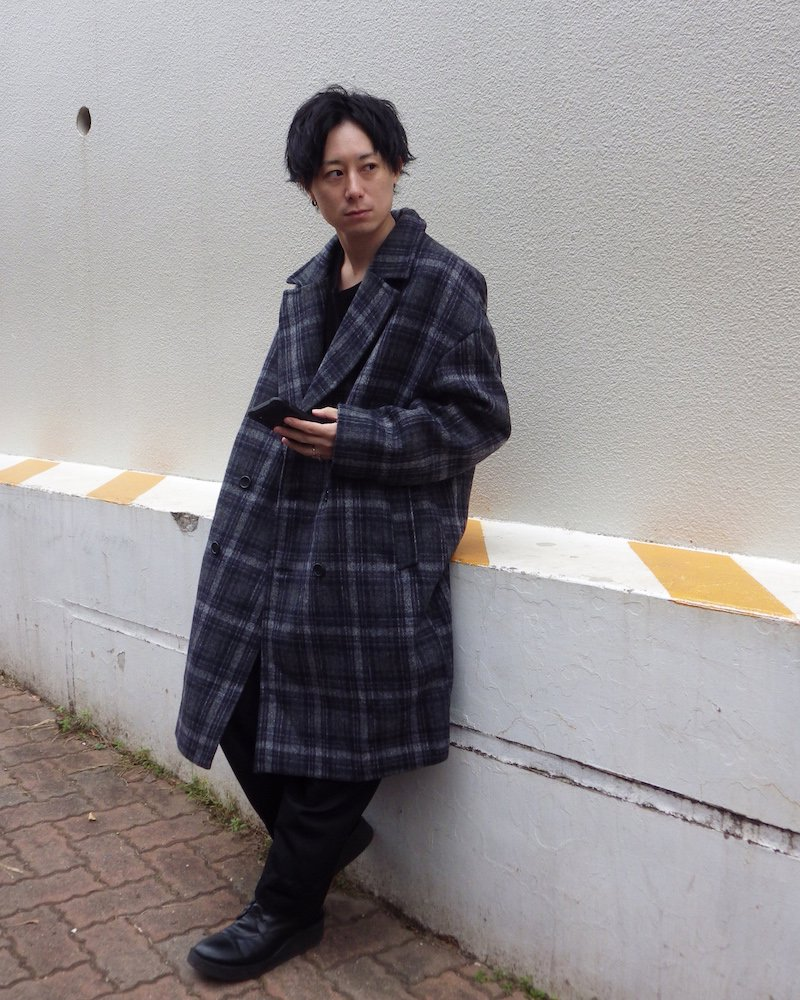 オーバーサイズ&ストリート『Re:one Online Store』「THE CLAP」Check chester coat -GRAY-