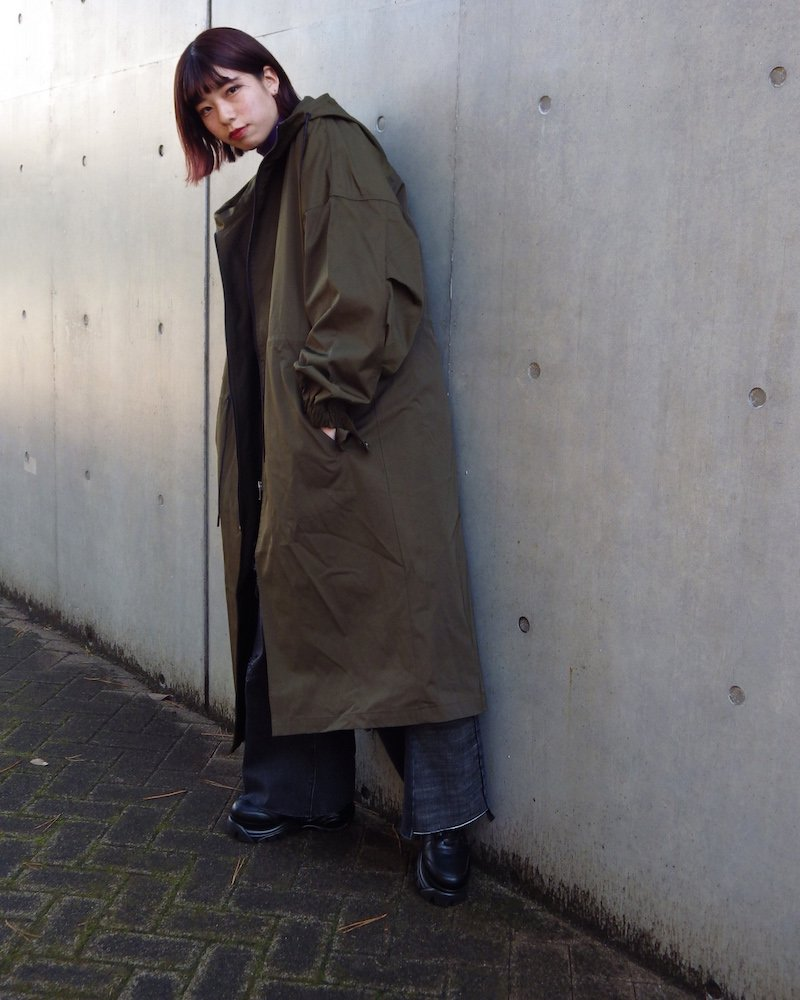 オーバーサイズ&ストリート『Re:one Online Store』「EDDEN」Long loose mod coat -KHAKI-