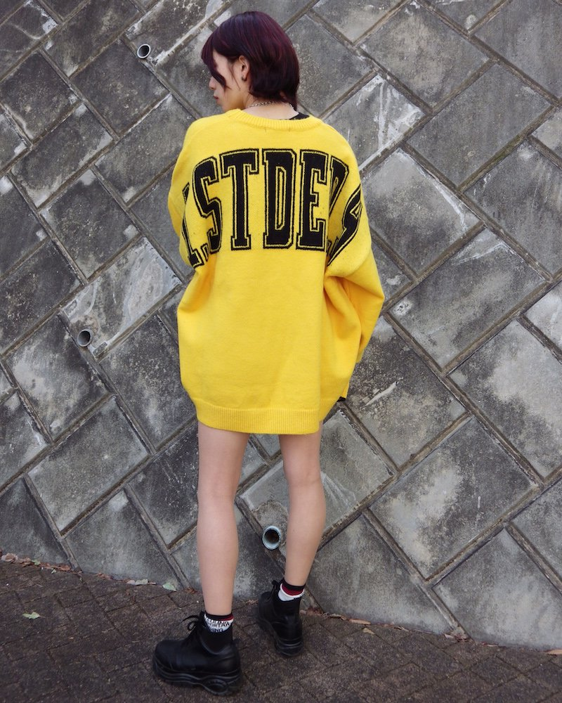オーバーサイズ&ストリート『Re:one Online Store』「EDDEN」BACK STDED PRINT YELLOW KNIT