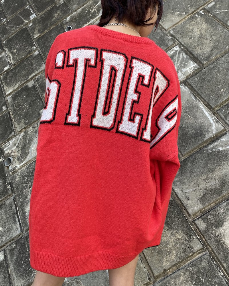 オーバーサイズ&ストリート『Re:one Online Store』「EDDEN」BACK STDED PRINT RED KNIT