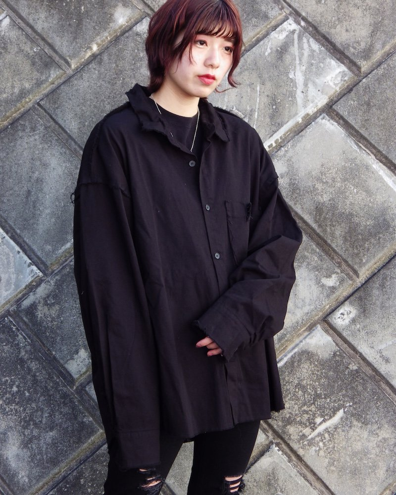 オーバーサイズ&ストリート『Re:one Online Store』「NINE NUTS」 GRUNGE PLAIN SHIRT -BLACK-