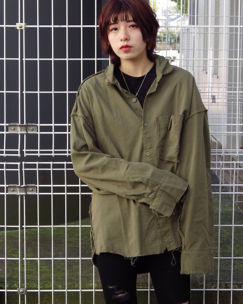 オーバーサイズ&ストリート『Re:one Online Store』「NINE NUTS」 GRUNGE PLAIN SHIRT -KHAKI-