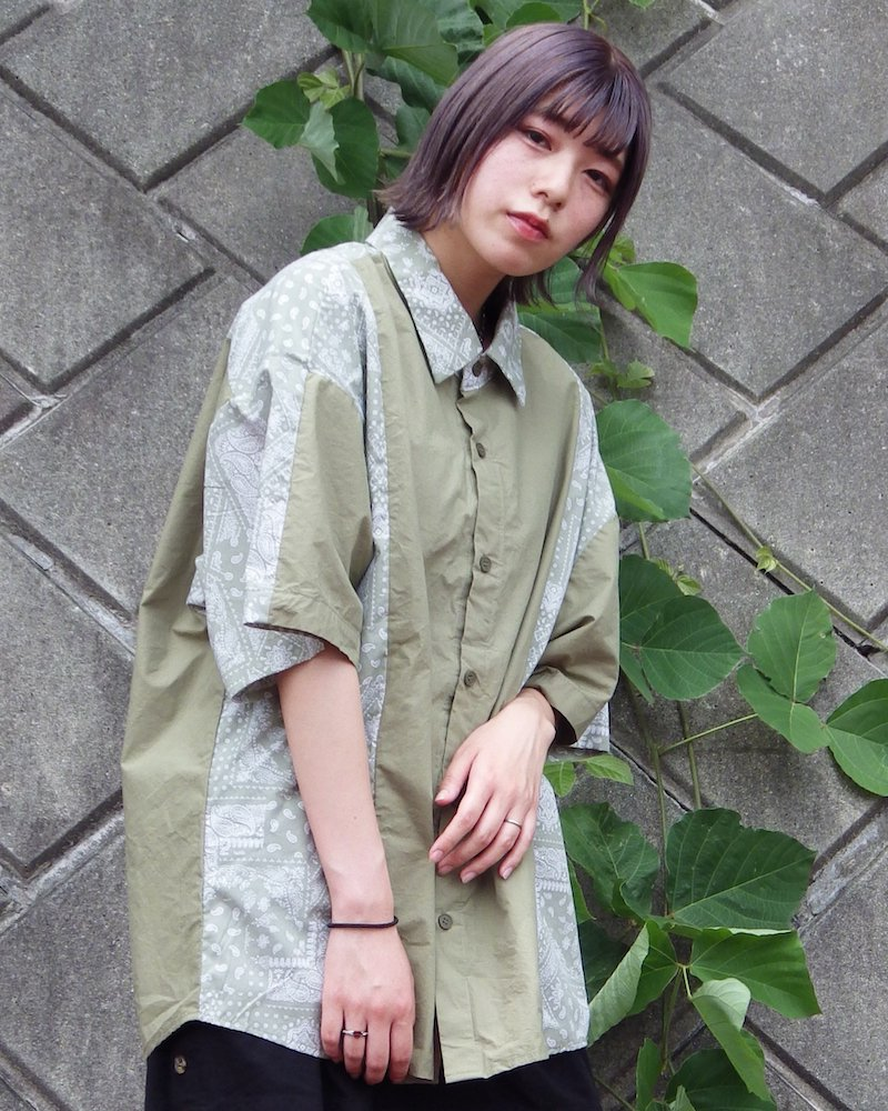 オーバーサイズ&ストリート『Re:one Online Store』「NINE NUTS」Bandana switching khaki shirt