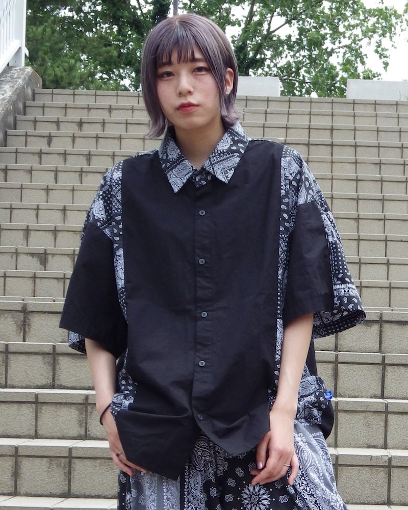 オーバーサイズ&ストリート『Re:one Online Store』【ラスト1点!!】「NINE NUTS」Bandana switching black shirt