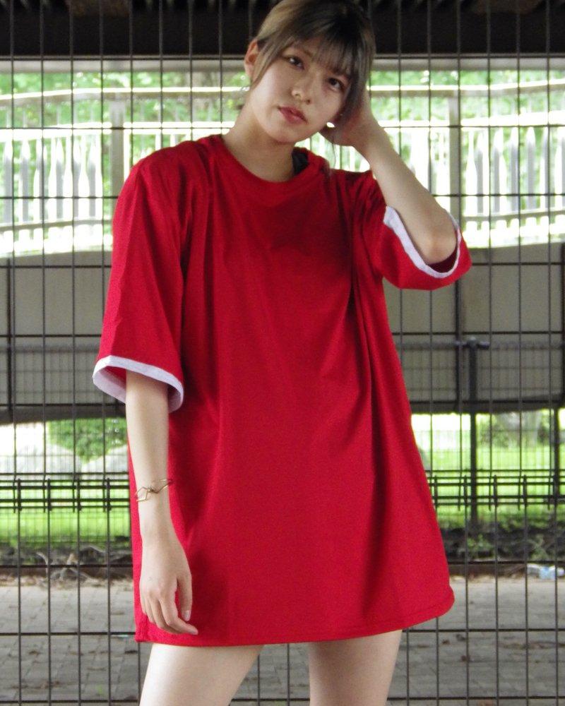 オーバーサイズ&ストリート『Re:one Online Store』「△VE U」Layered RED BigT-shirt