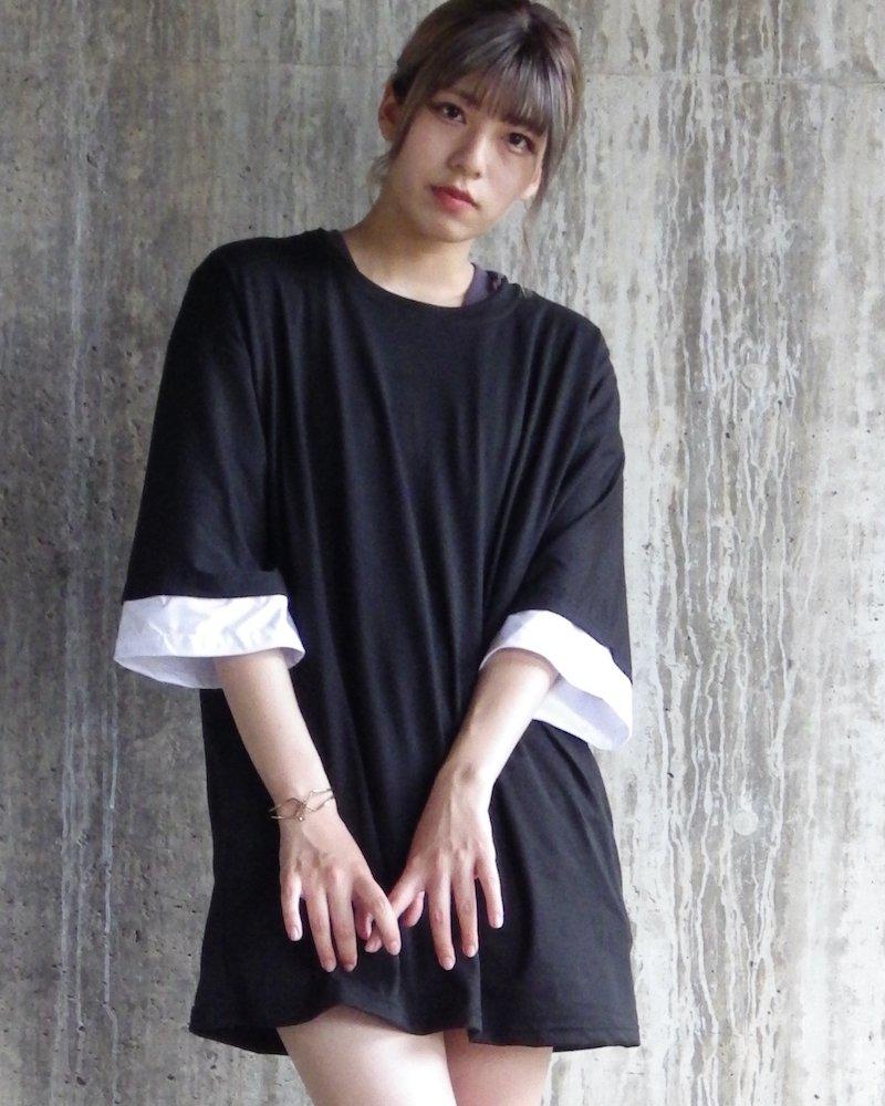 オーバーサイズ&ストリート『Re:one Online Store』「△VE U」Layered BLACK BigT-shirt