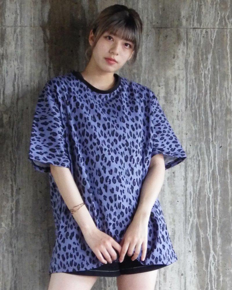 オーバーサイズ&ストリート『Re:one Online Store』「△VE U」Leopard pattern NAVY big T-shirt