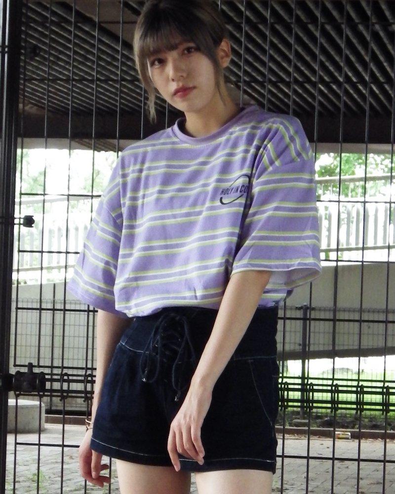 オーバーサイズ&ストリート『Re:one Online Store』「△VE U」HOLYINCON lavender big T-shirt