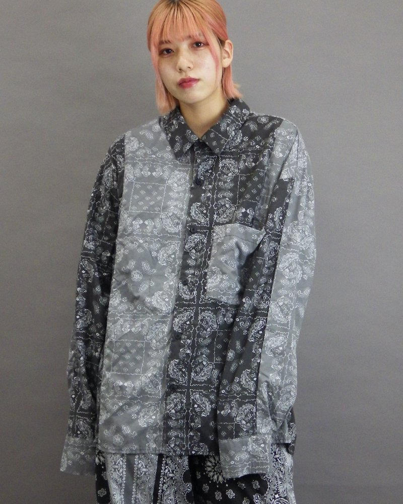 オーバーサイズ&ストリート『Re:one Online Store』「NINE NUTS」Bandana switching L/S black shirt