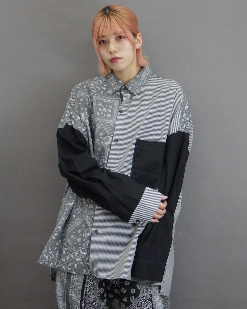オーバーサイズ&ストリート『Re:one Online Store』「NINE NUTS」Bandana stripe switching  shirt