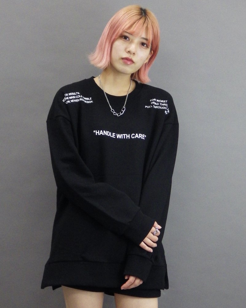 オーバーサイズ&ストリート『Re:one Online Store』「CAMP」Laundry symbol black sweatshirt