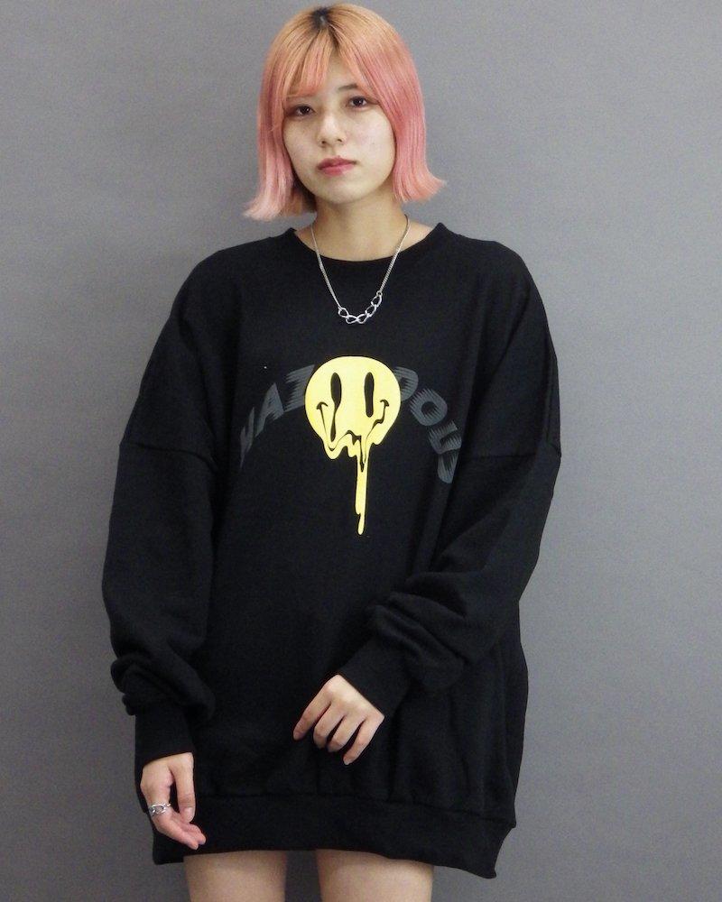 オーバーサイズ&ストリート『Re:one Online Store』「CAMP」Melting smile black sweatshirt