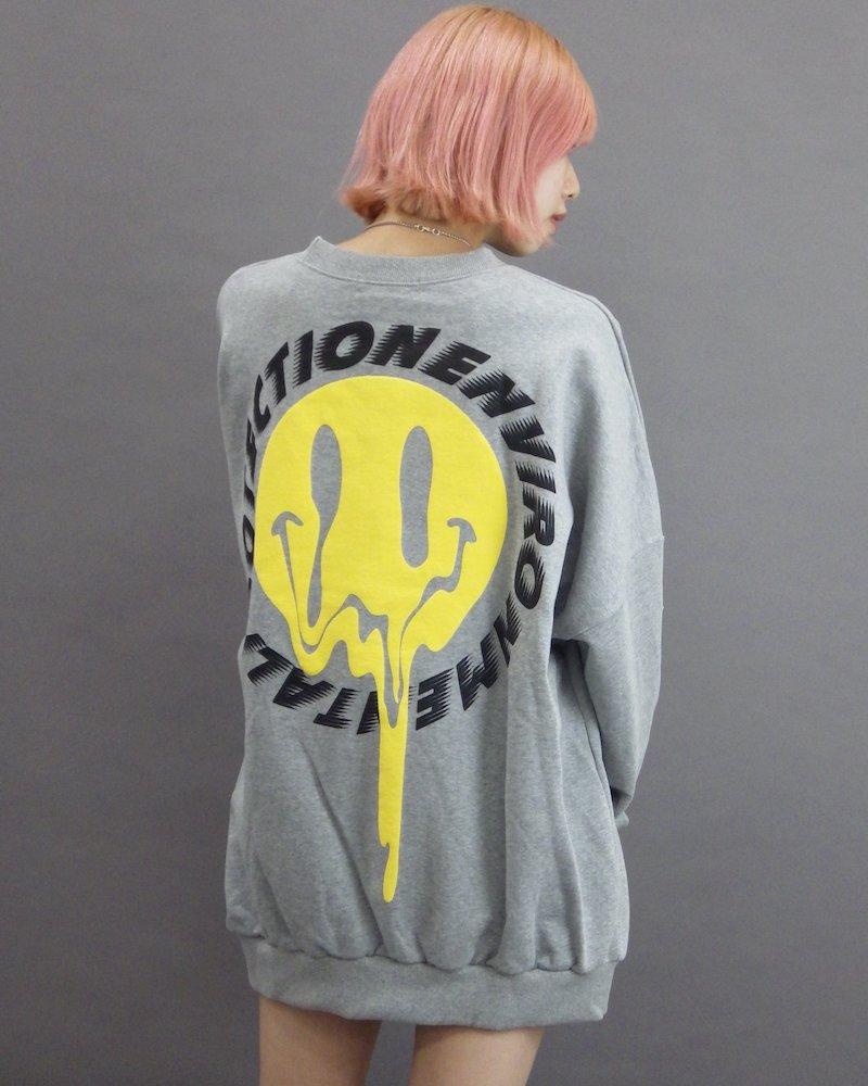 オーバーサイズ&ストリート『Re:one Online Store』「CAMP」Melting smile gray sweatshirt