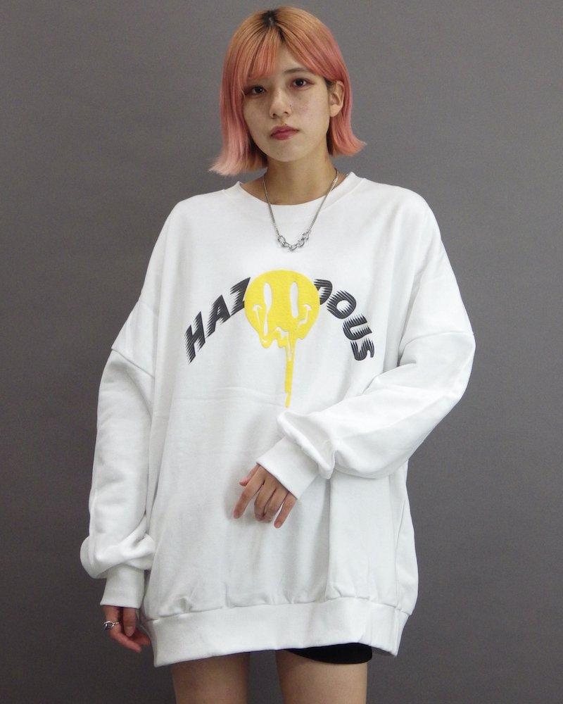 オーバーサイズ&ストリート『Re:one Online Store』「CAMP」Melting smile white sweatshirt