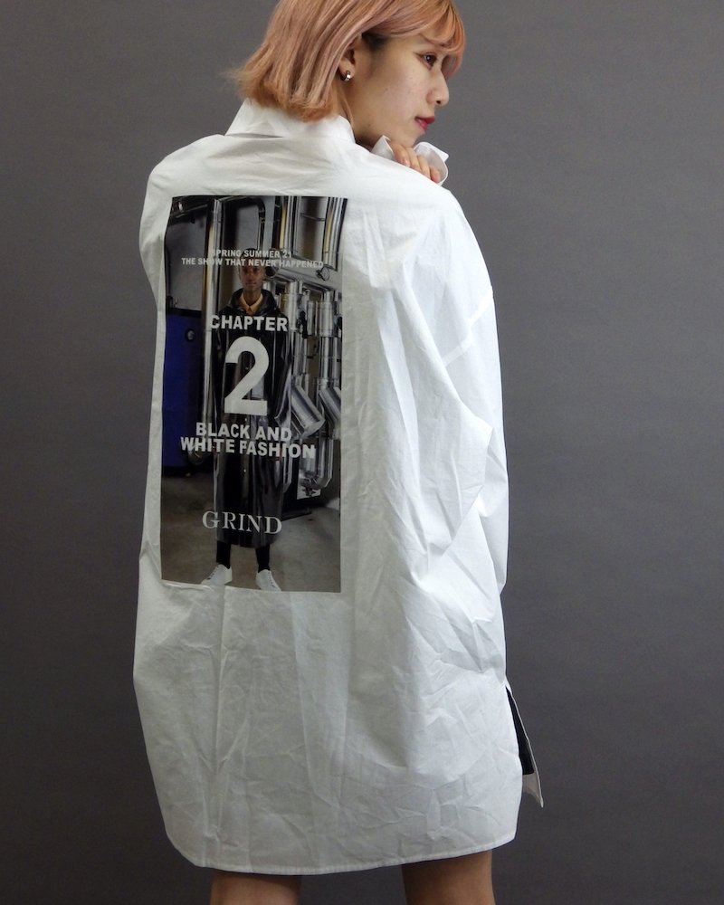 オーバーサイズ&ストリート『Re:one Online Store』「MAD MAD」Big chapter white shirt