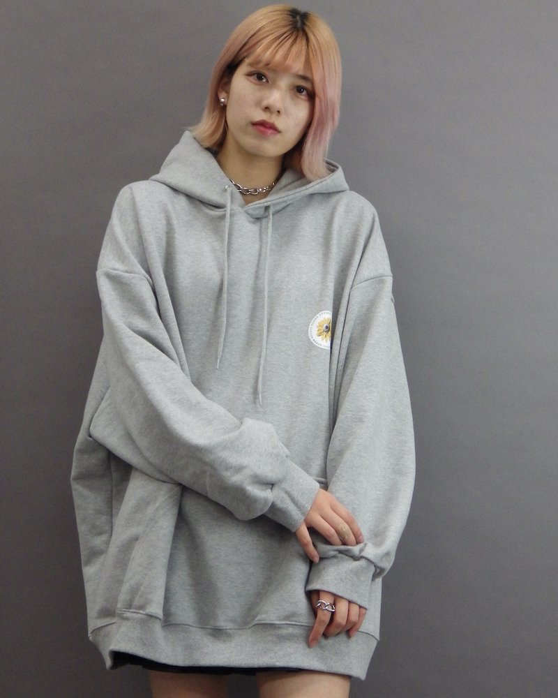 オーバーサイズ&ストリート『Re:one Online Store』「EDDEN」Flower print over gray hoodie