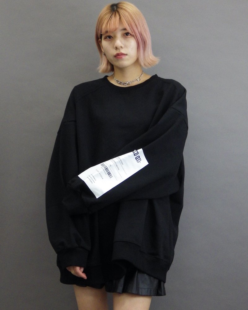 オーバーサイズ&ストリート『Re:one Online Store』「EDDEN」Sleeve edd label big black sweatshirt