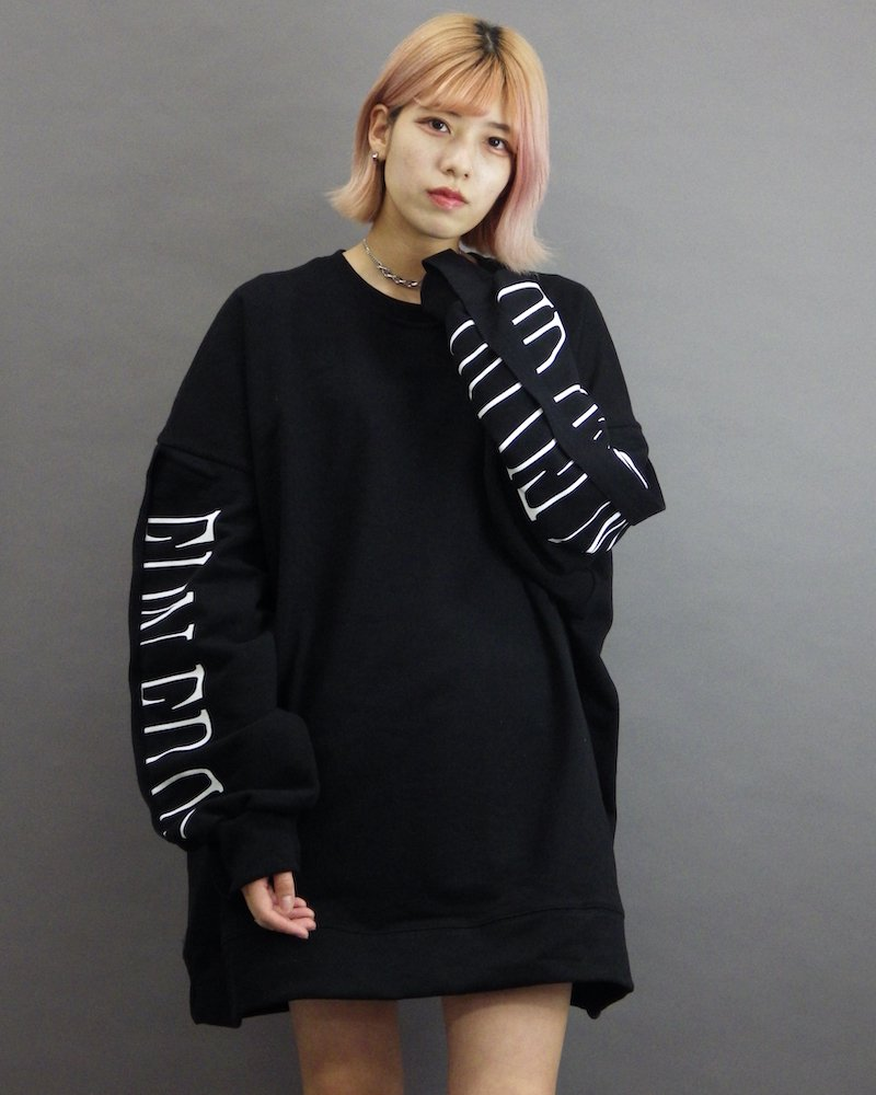 オーバーサイズ&ストリート『Re:one Online Store』「EDDEN」Sleeve line logo big black sweatshirt