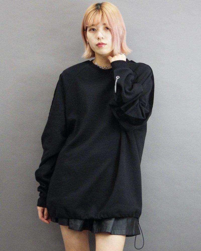 オーバーサイズ&ストリート『Re:one Online Store』「ATTENTION」Velor line chain black sweatshirt