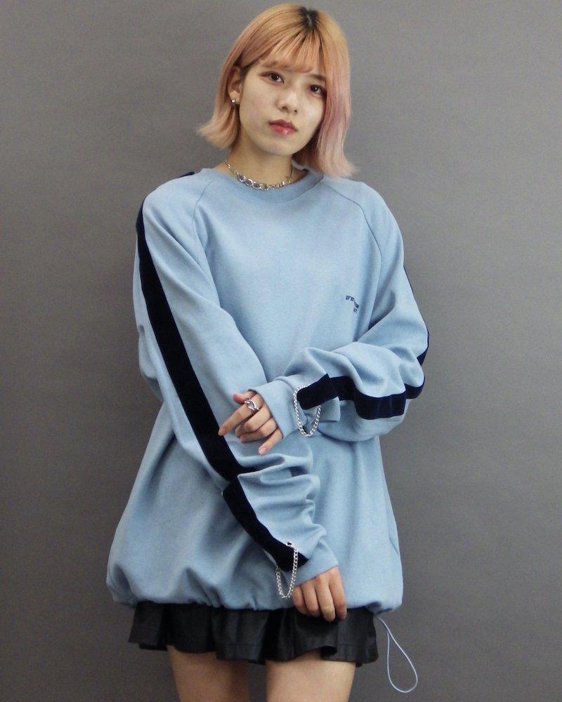 オーバーサイズ&ストリート『Re:one Online Store』「ATTENTION」Velor line chain sax sweatshirt