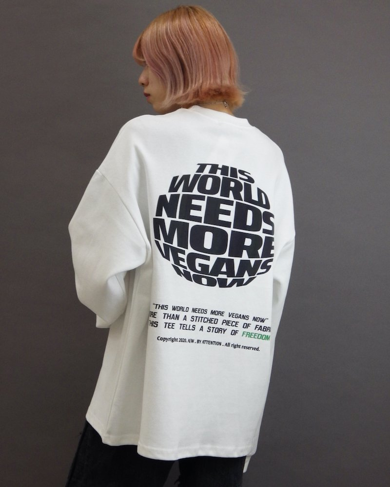 オーバーサイズ&ストリート『Re:one Online Store』「ATTENTION」This world needs  white cut&sew
