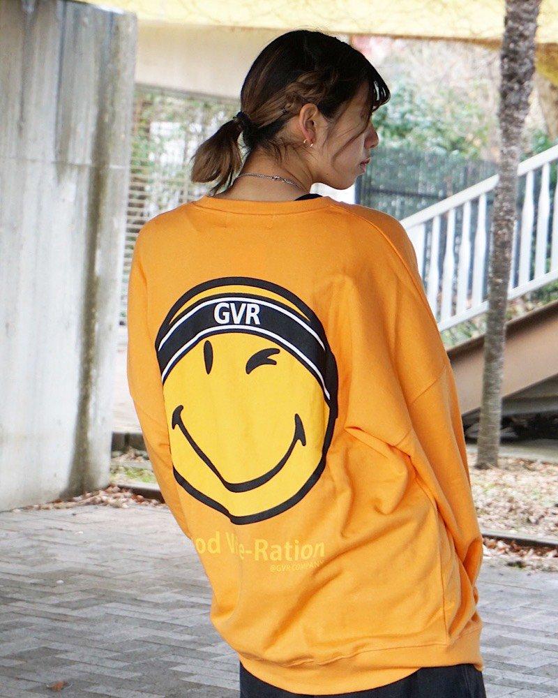 オーバーサイズ&ストリート『Re:one Online Store』SMILEY L/S SWEATSHIRT-ORANGE-