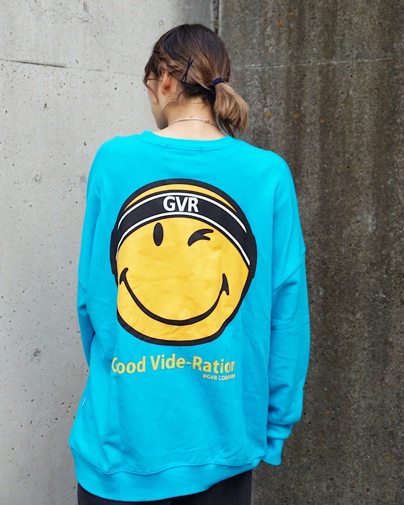オーバーサイズ&ストリート『Re:one Online Store』SMILEY L/S SWEATSHIRT-BLUE-