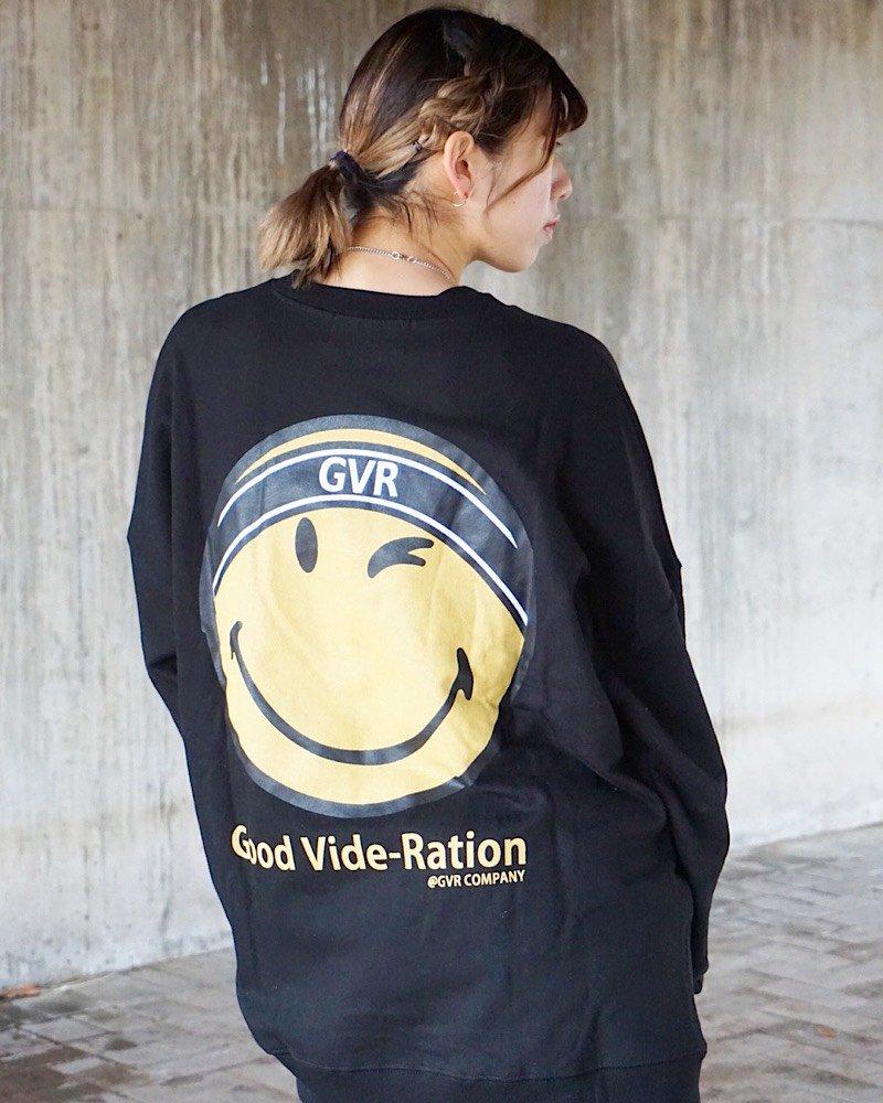 オーバーサイズ&ストリート『Re:one Online Store』SMILEY L/S SWEATSHIRT-BLACK-