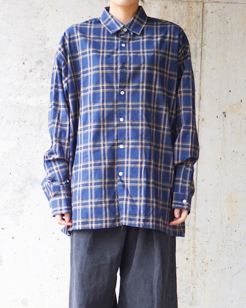 オーバーサイズ&ストリート『Re:one Online Store』CHECK NAVY SHIRTS