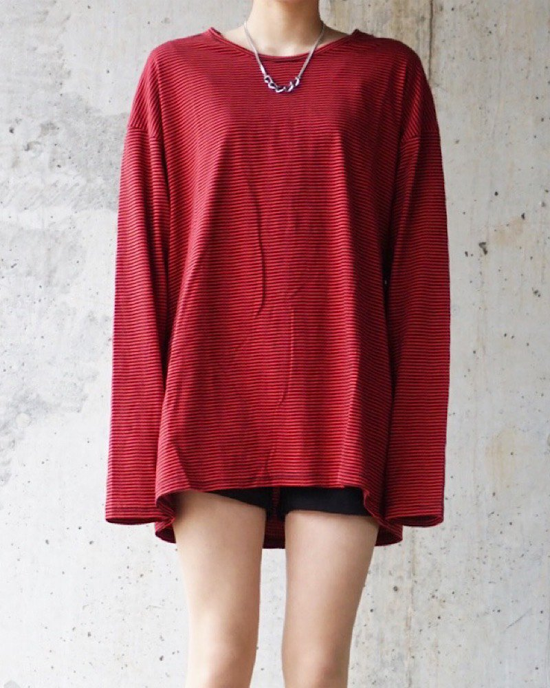 オーバーサイズ&ストリート『Re:one Online Store』Border L/S RED CUTSEW