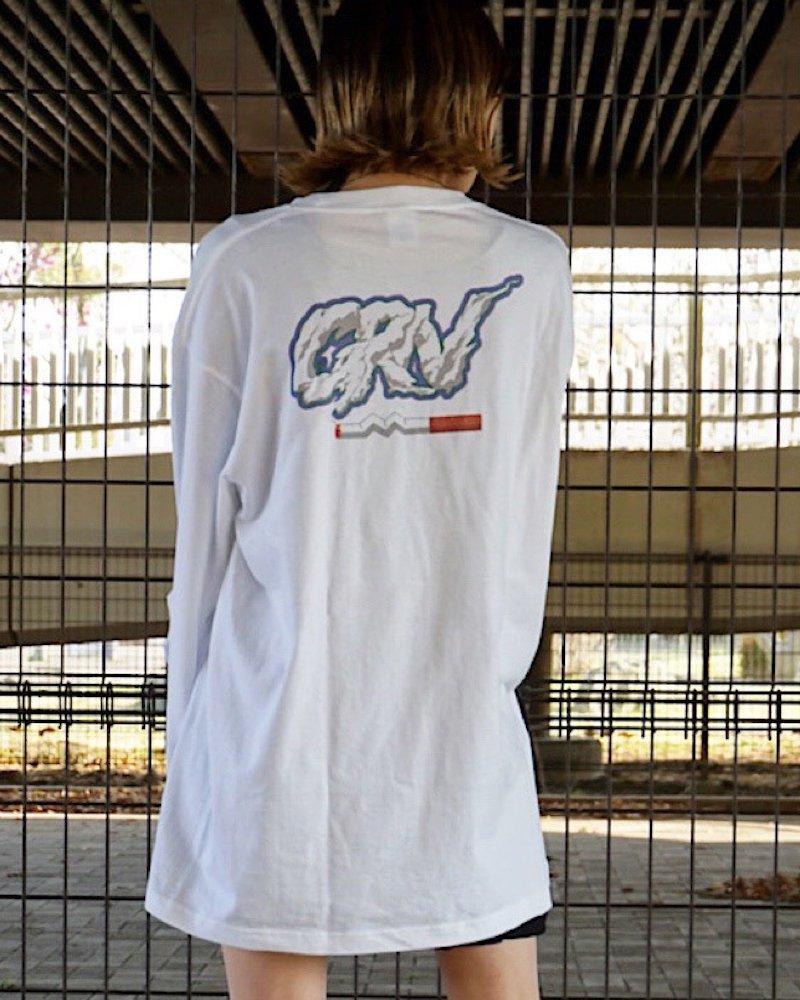 オーバーサイズ&ストリート『Re:one Online Store』【受注生産商品】「GRN」Smokeing logo t-shirt