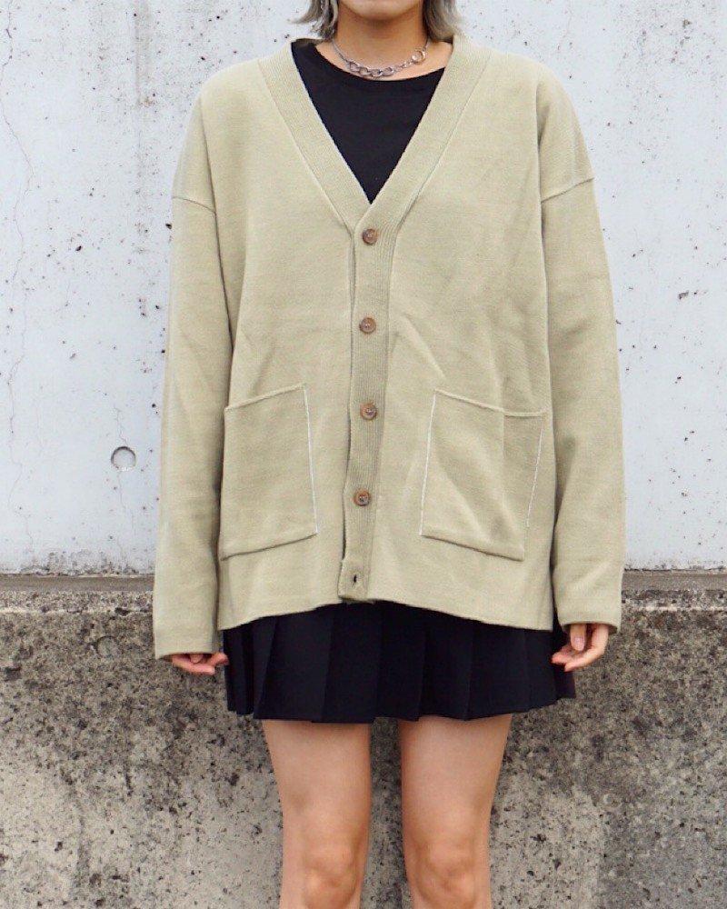 オーバーサイズ&ストリート『Re:one Online Store』【And More】Basic khaki cardigan-KHAKI-